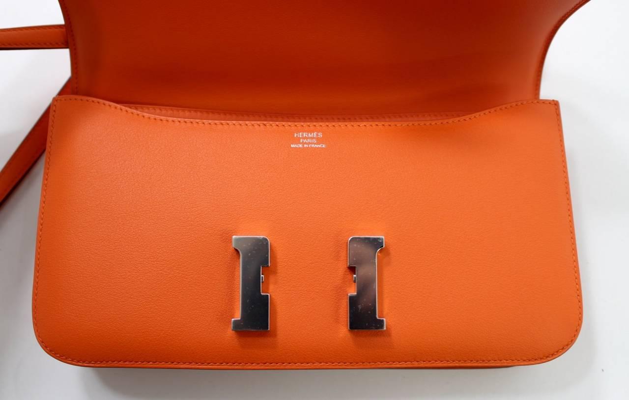 Herm��s Orange Swift Leather Constance Elan CrossBody Shoulder Bag ...