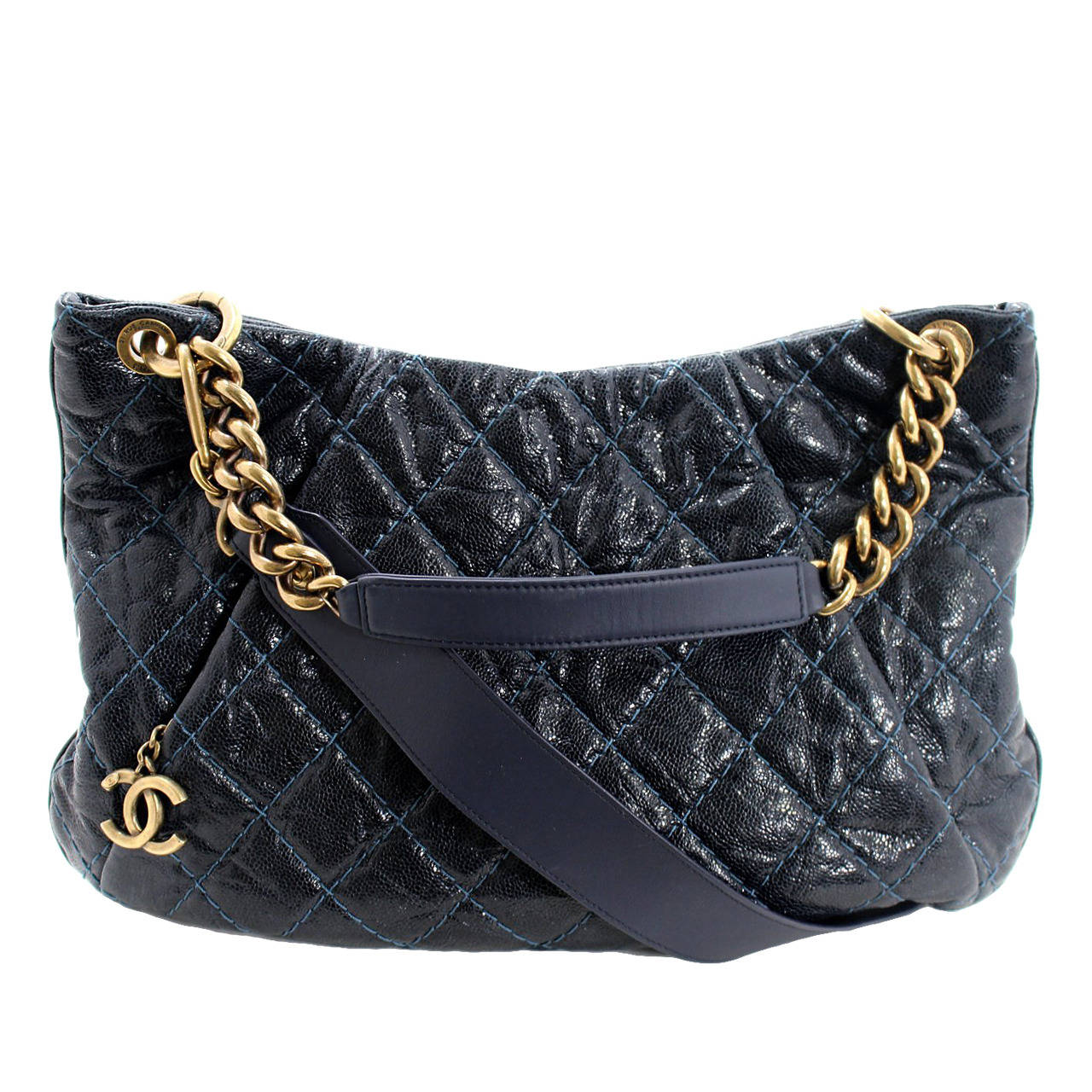 Chanel Navy Blue Quilted Caviar Coco Pleats Hobo Crossbody Bag at ...