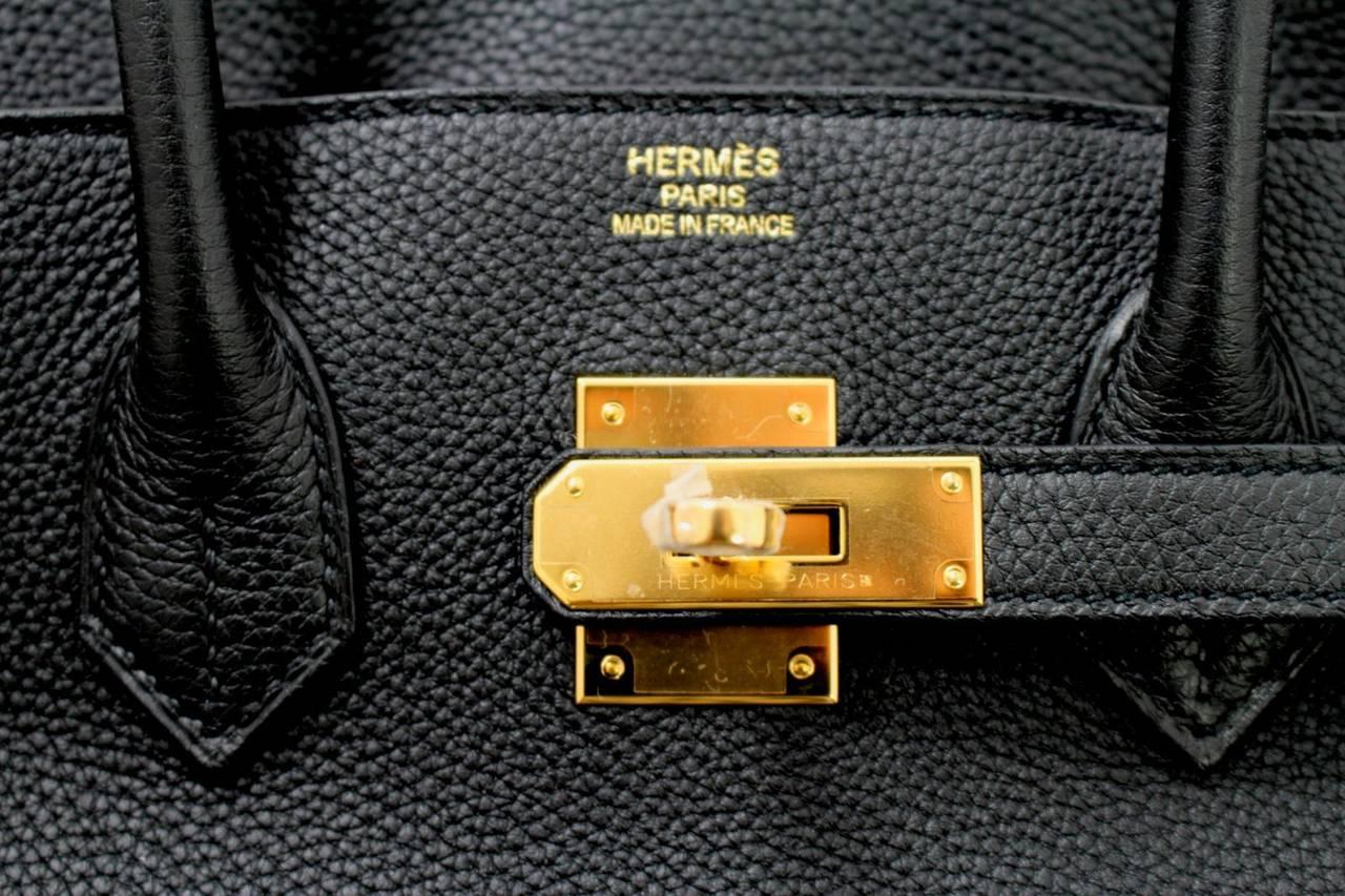 hermes birkin togo bag in black with gold hardware