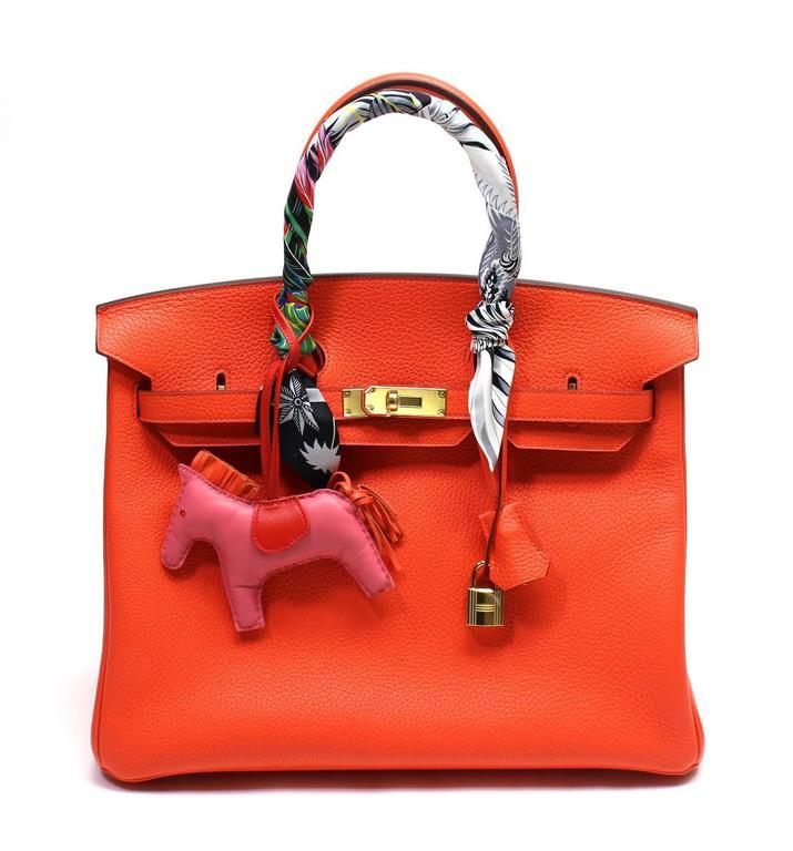 Hermès 35 cm Orange Poppy Birkin Bag- Togo Leather with GHW 2