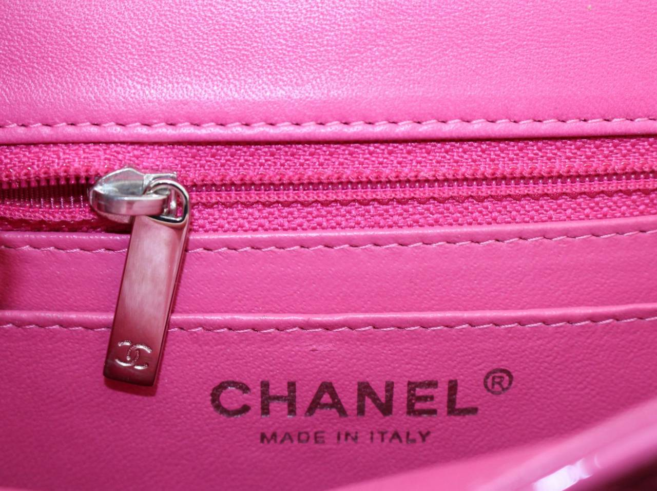 Chanel Pink Patent Mini Classic Flap Bag with Silver HW 8