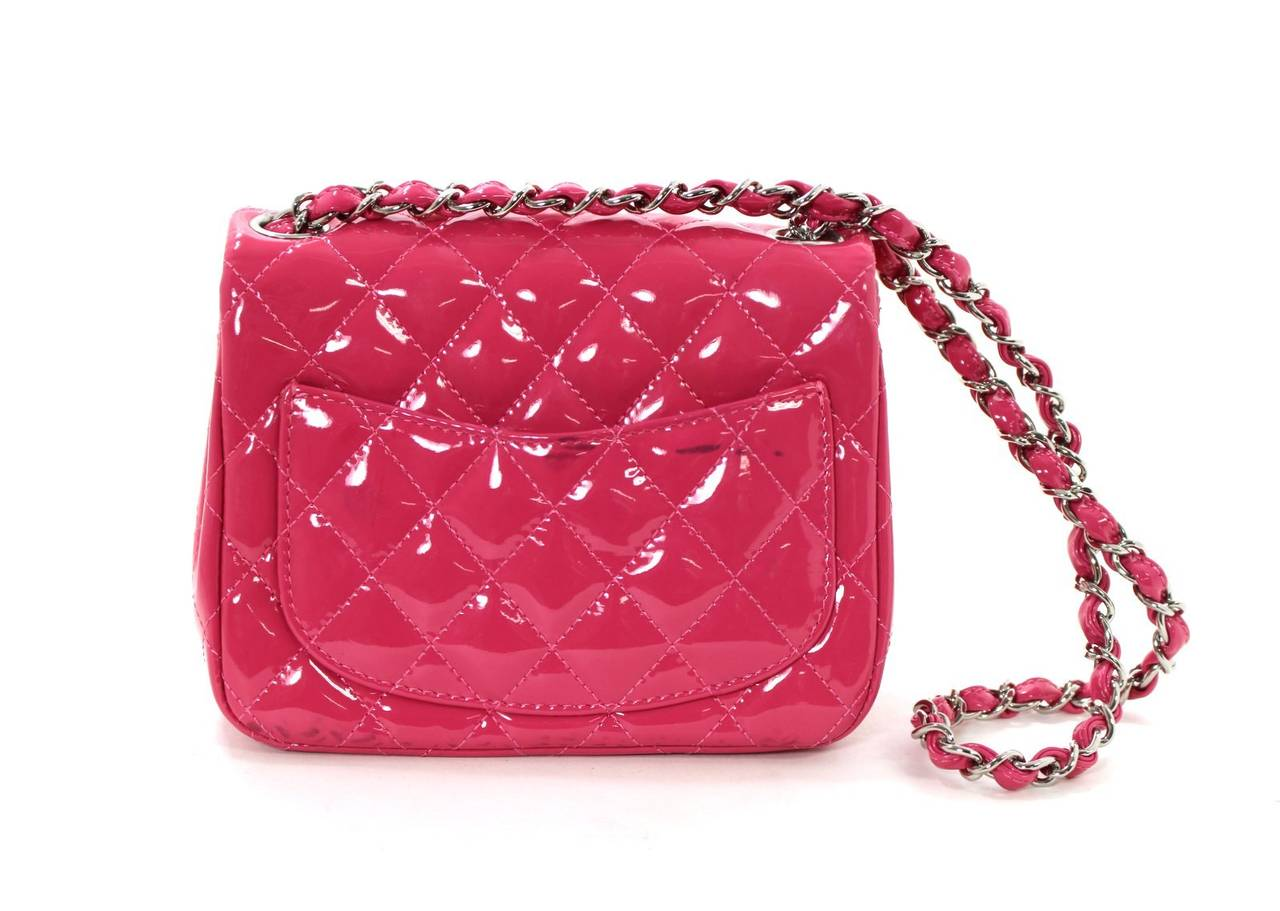 Chanel Pink Patent Mini Classic Flap Bag with Silver HW 2