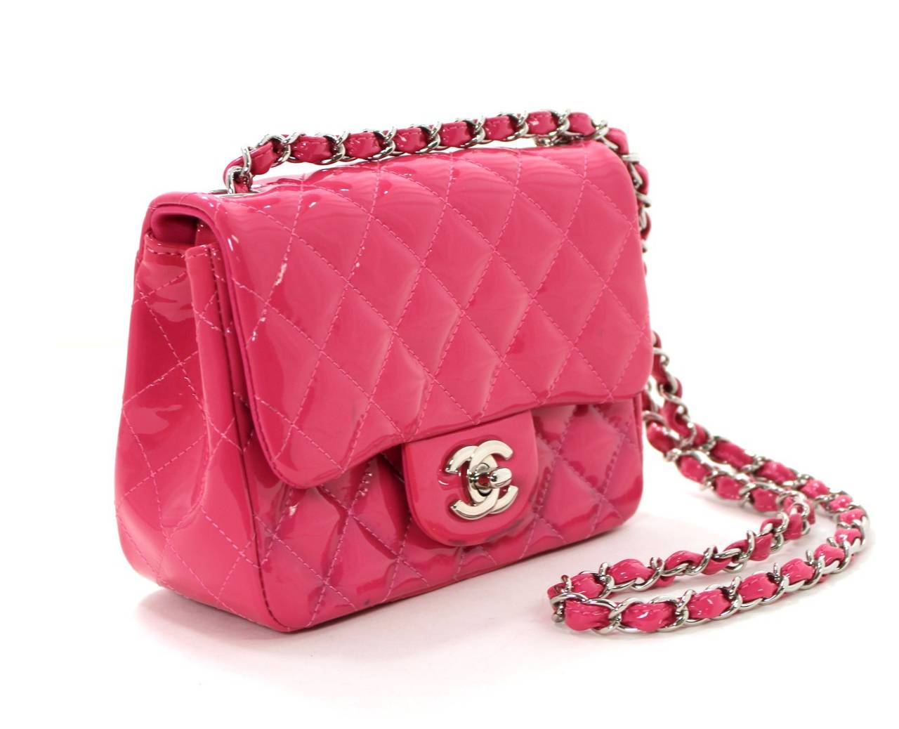 Chanel Pink Patent Mini Classic Flap Bag with Silver HW at 1stdibs