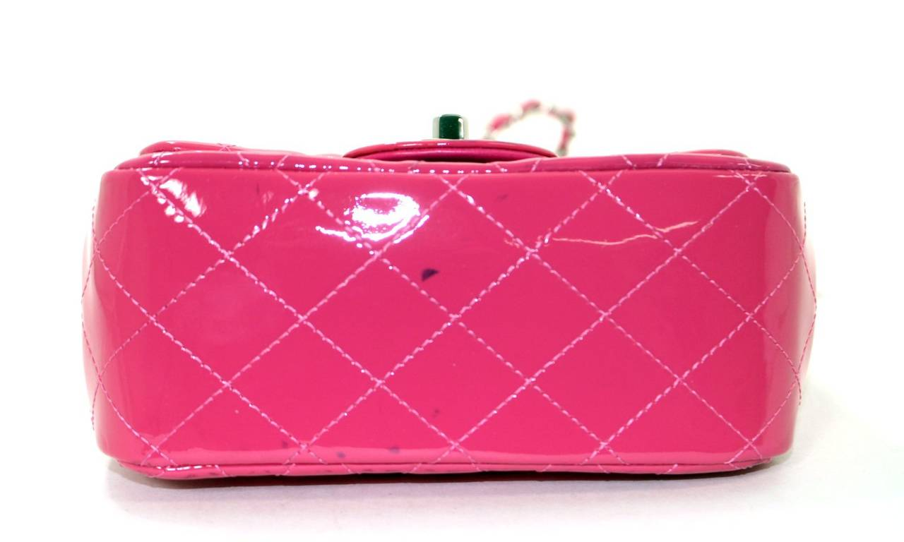 Chanel Pink Patent Mini Classic Flap Bag with Silver HW 4