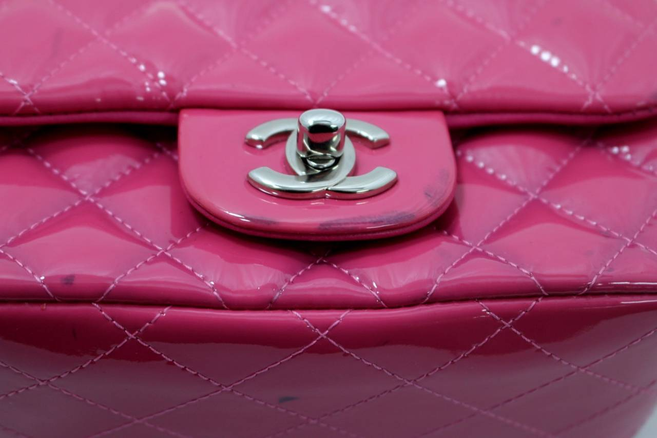 Chanel Pink Patent Mini Classic Flap Bag with Silver HW 5