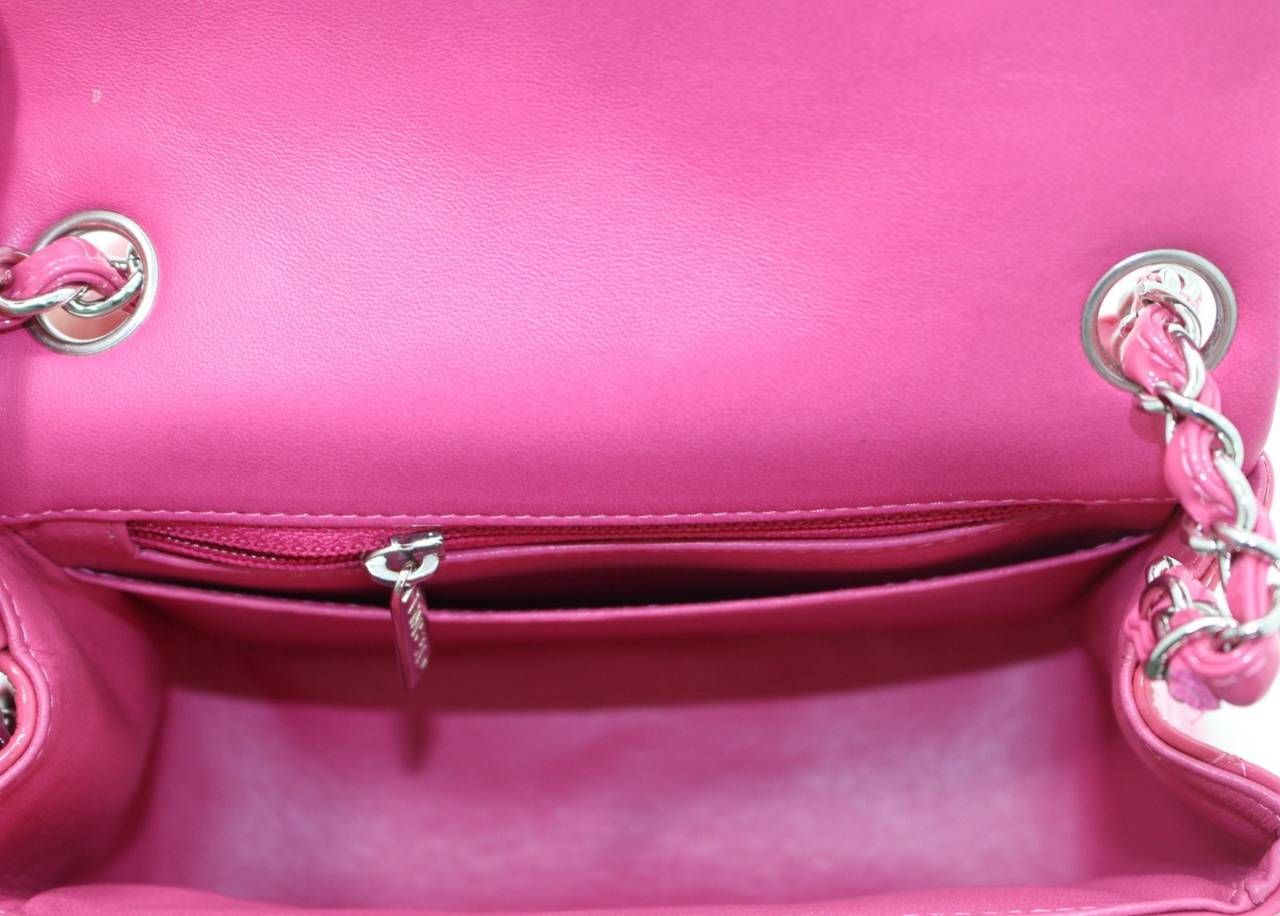 Chanel Pink Patent Mini Classic Flap Bag with Silver HW 7
