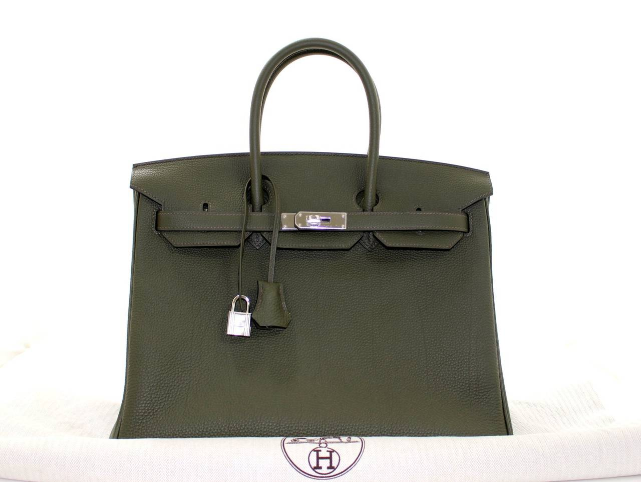 Hermes Birkin Bag in Vert Olive green Togo Leather, 35 cm size 10