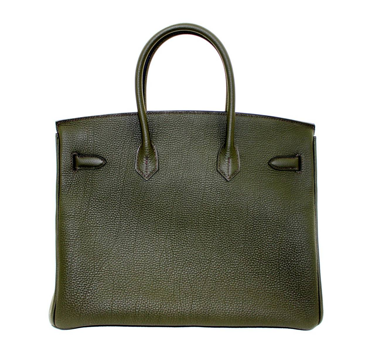 Hermes Birkin Bag in Vert Olive green Togo Leather, 35 cm size 2