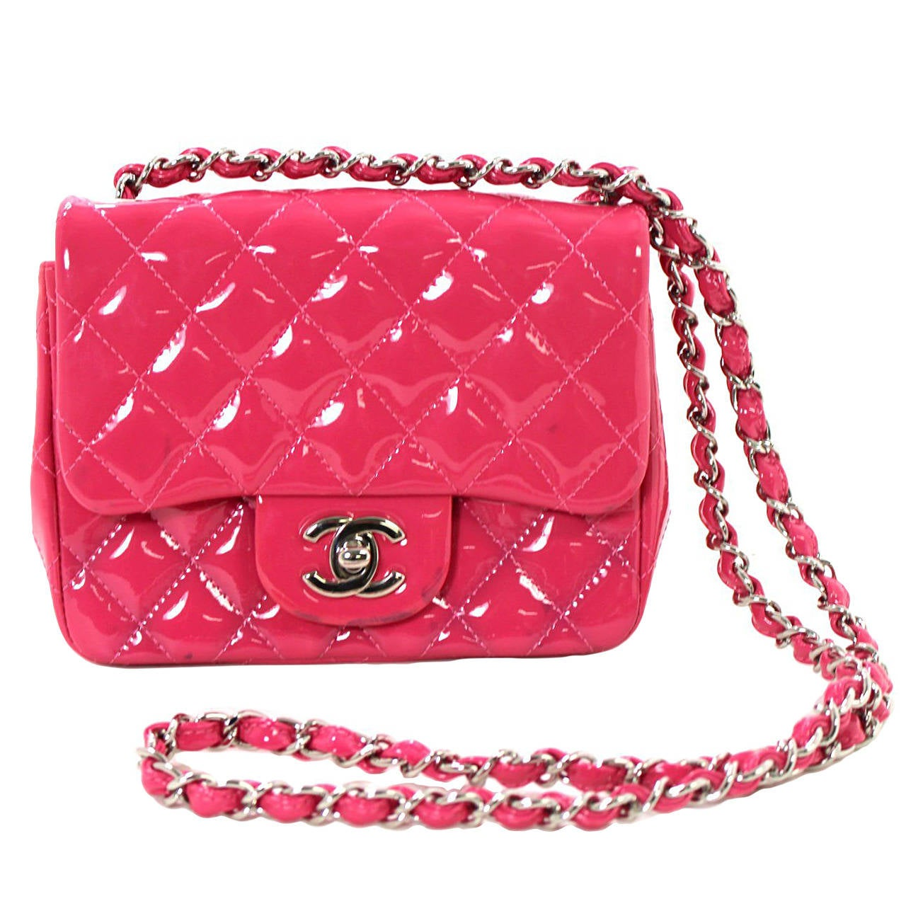 Chanel Pink Patent Mini Classic Flap Bag with Silver HW 1
