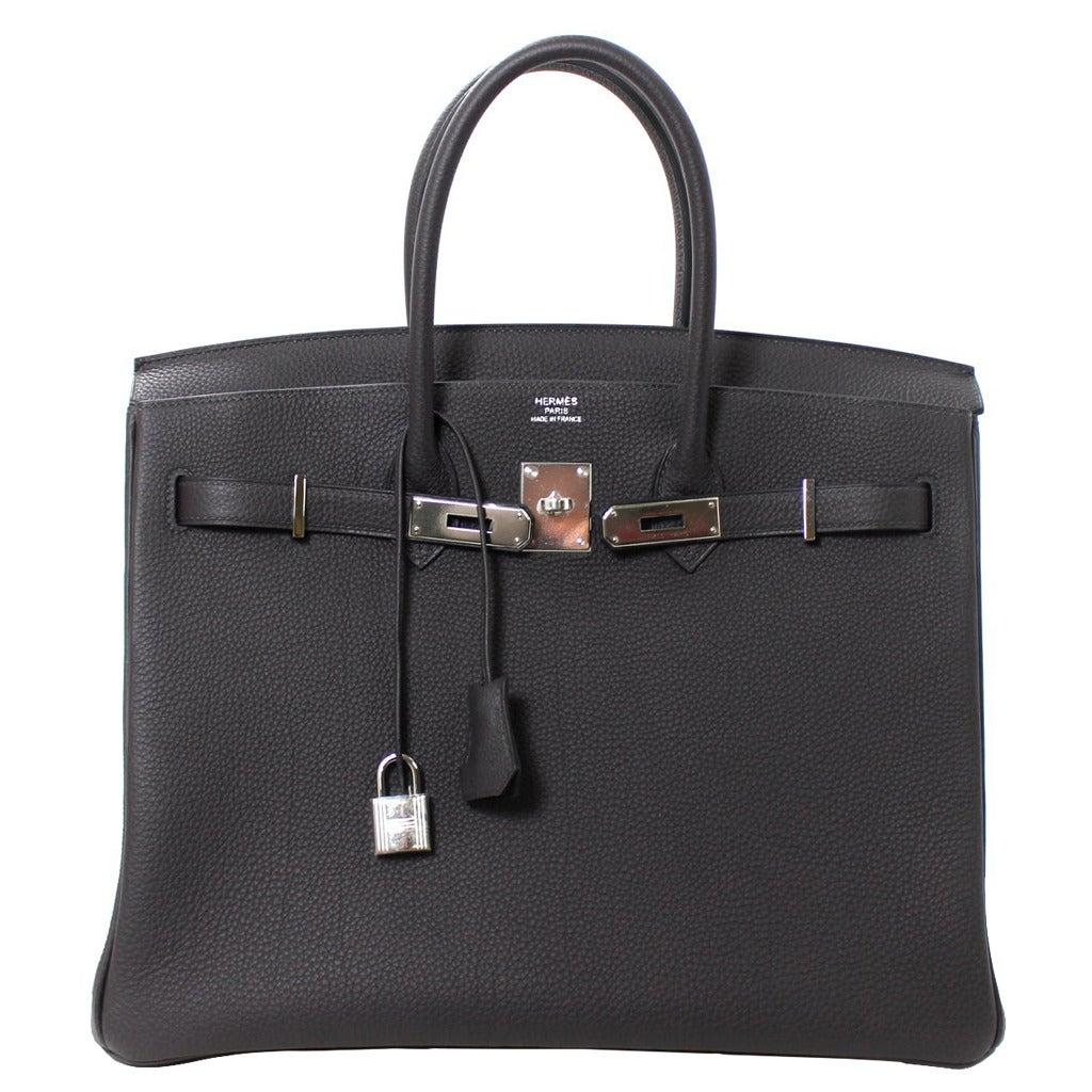HERMES Birkin Bag Grey 35 cm size in Graphite Togo Leather at 1stdibs