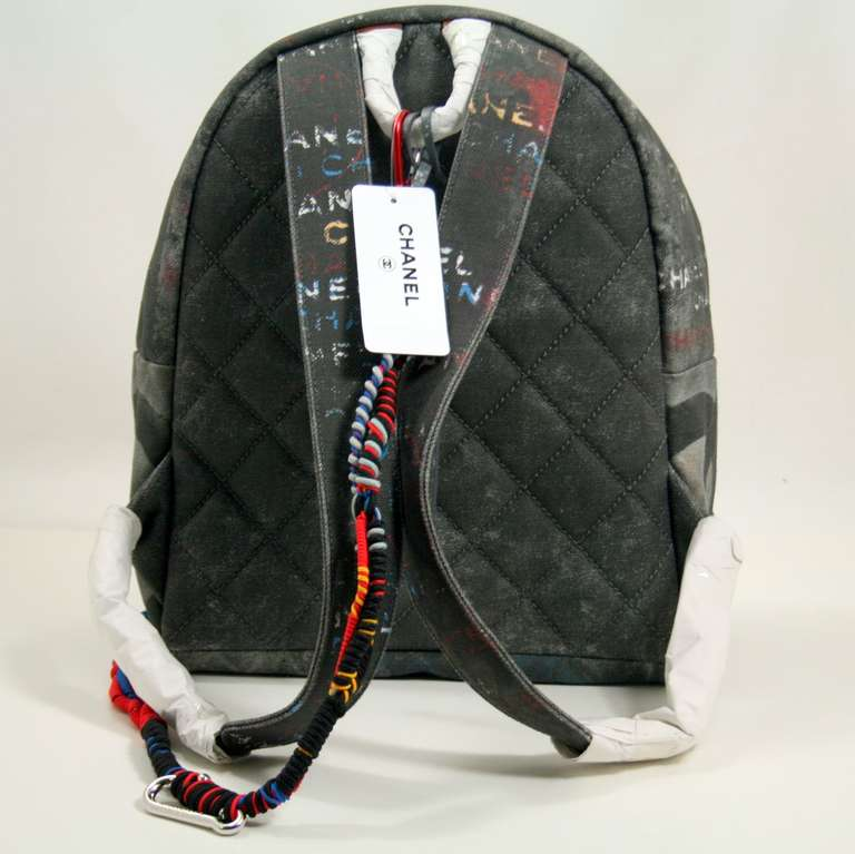 Chanel Small Black Graffiti Art School Backpack image 2