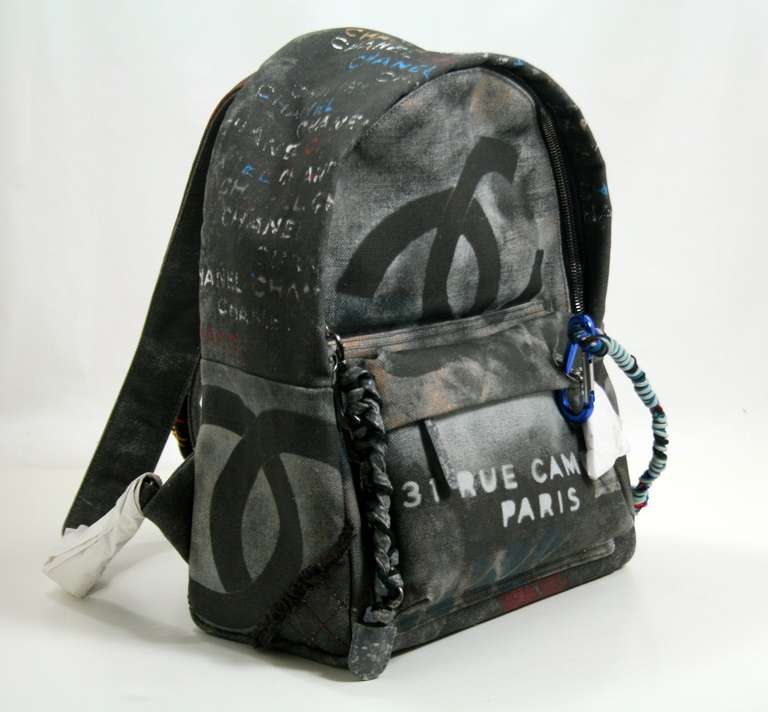 Chanel Small Black Graffiti Art School Backpack image 3