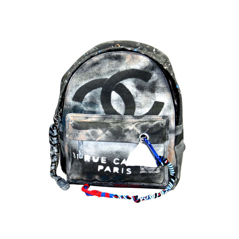 Chanel Small Black Graffiti Art School Backpack