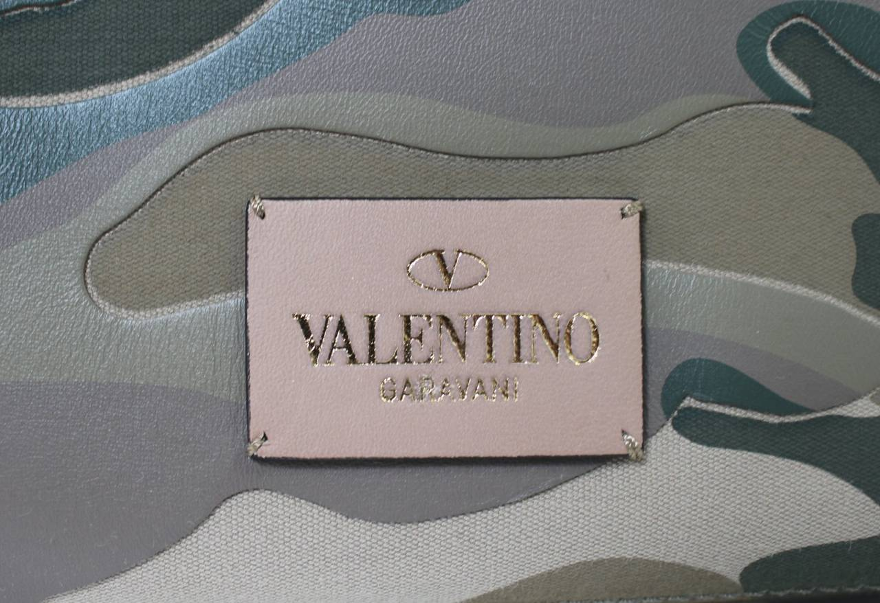 Valentino Rock Stud Tote- Camo Green Leather And Canvas At
