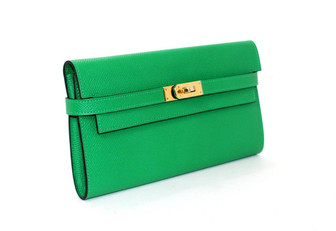 hermes green epsom bambou color kelly wallet ghw 3 - Bambou Color