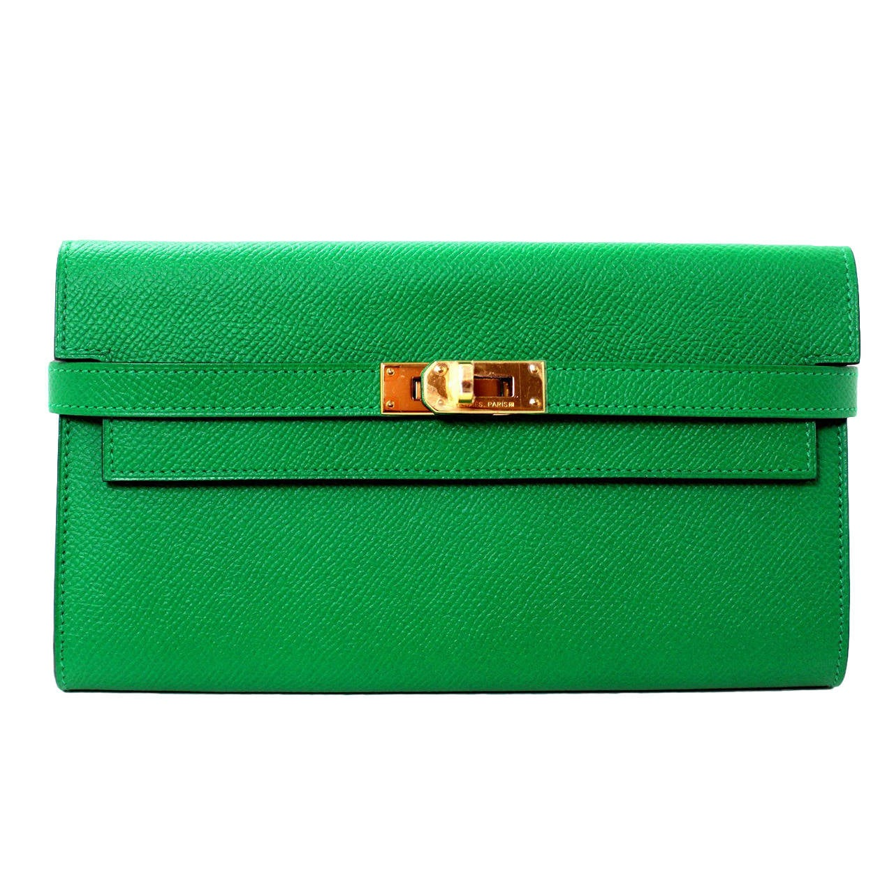 hermes green epsom bambou color kelly wallet ghw 1 - Bambou Color