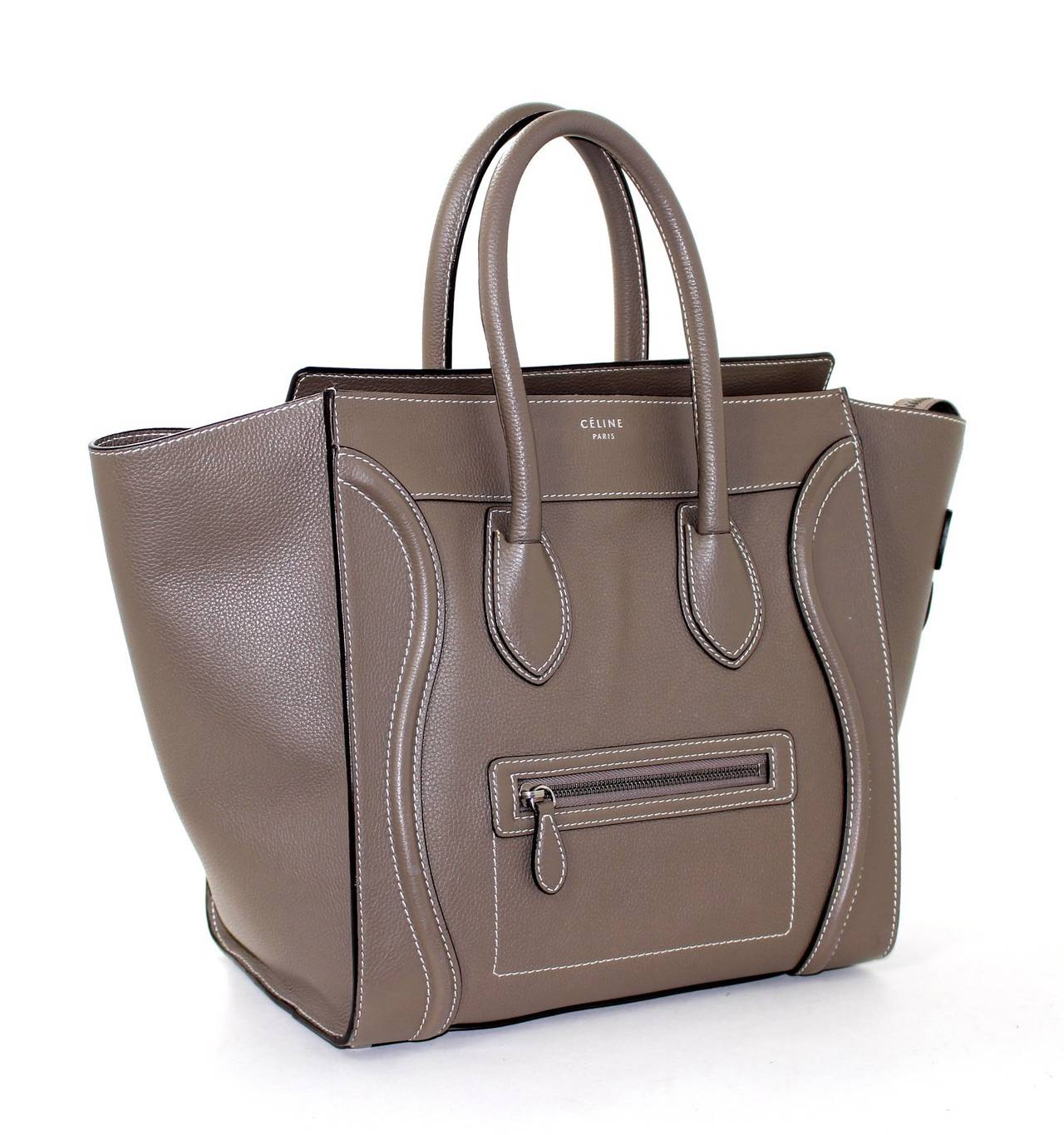Celine Dune Mini Luggage Satchel Bag- Grey Taupe color at 1stdibs