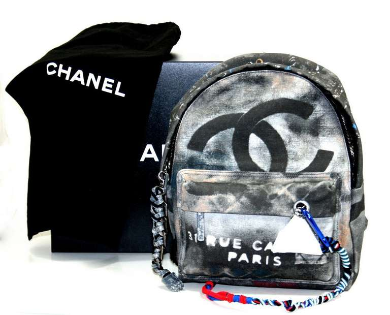 Chanel Small Black Graffiti Art School Backpack 10