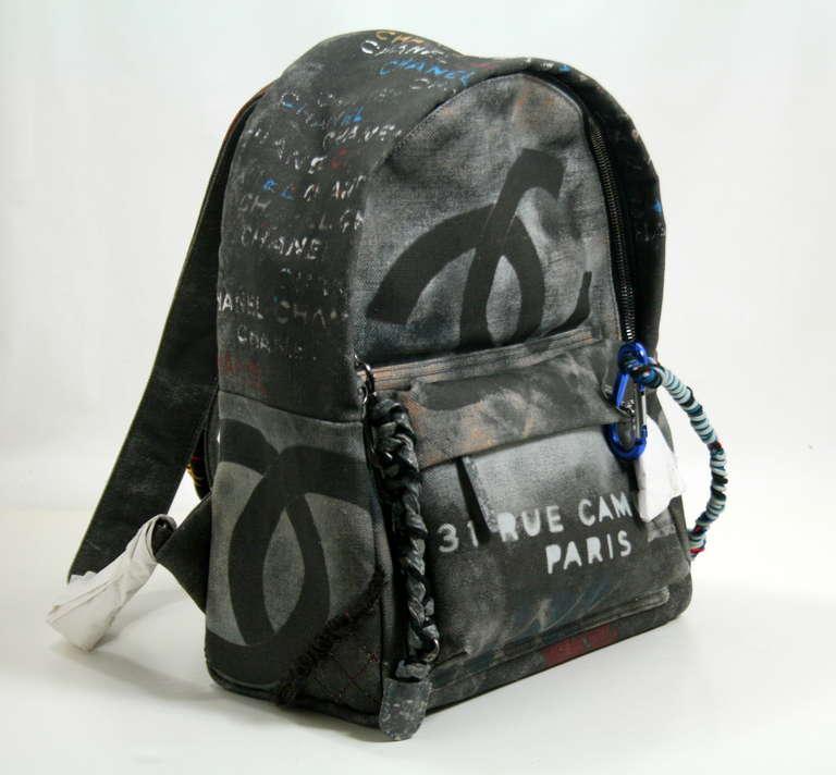 Chanel Small Black Graffiti Art School Backpack 2