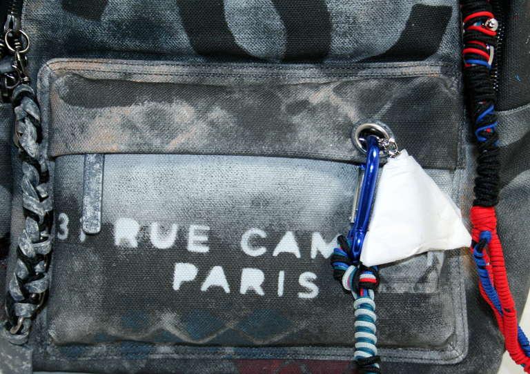 Chanel Small Black Graffiti Art School Backpack 4