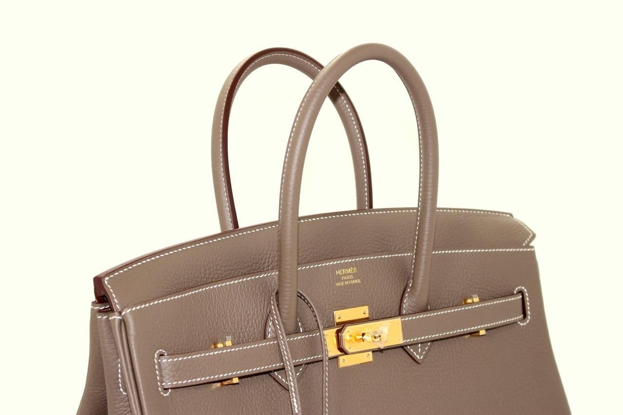 hermes birkin cost - HERMES Etoupe Clemence Birkin Bag- Taupe Color with Gold HW 35 cm ...