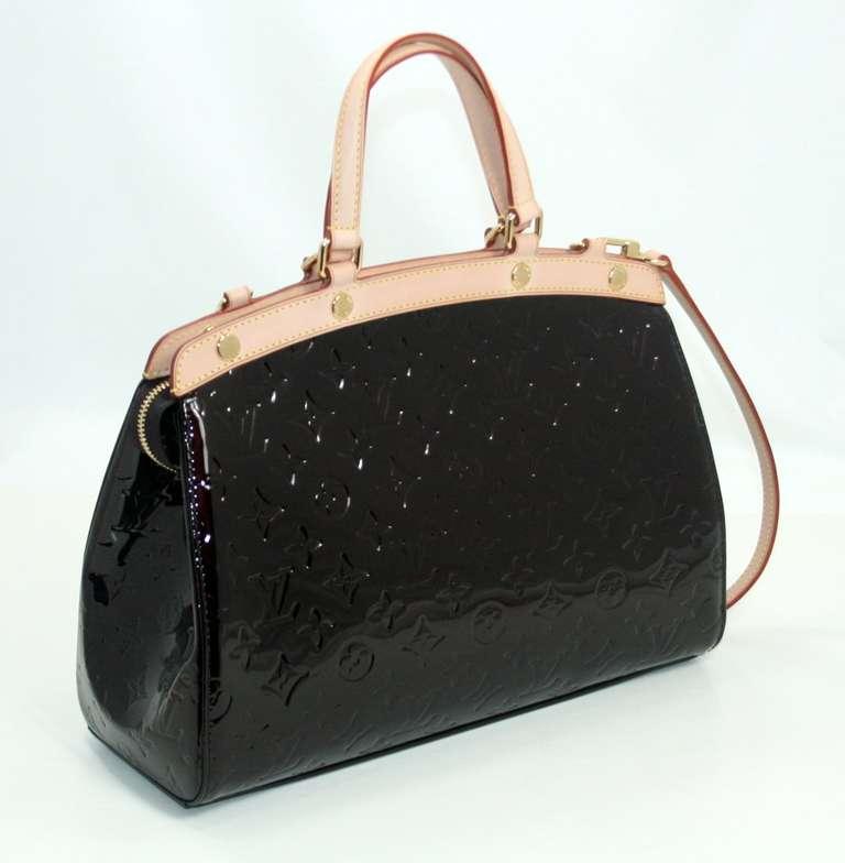 Louis Vuitton Amarante Vernis Brea MM Bag with Strap 3