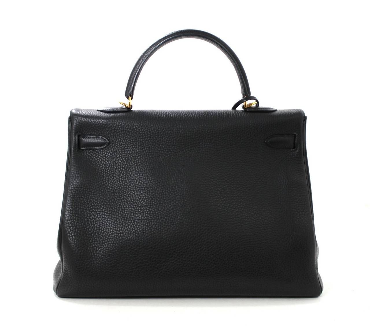 HERMES Kelly Bag- Black Clemence Leather with  Gold, 35 cm 2
