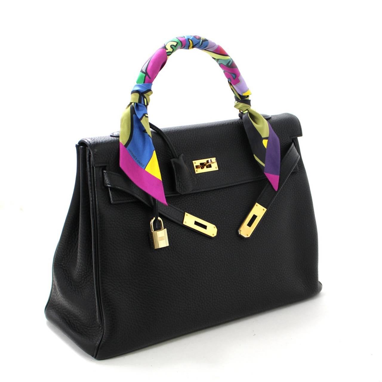 HERMES Kelly Bag- Black Clemence Leather with  Gold, 35 cm 3