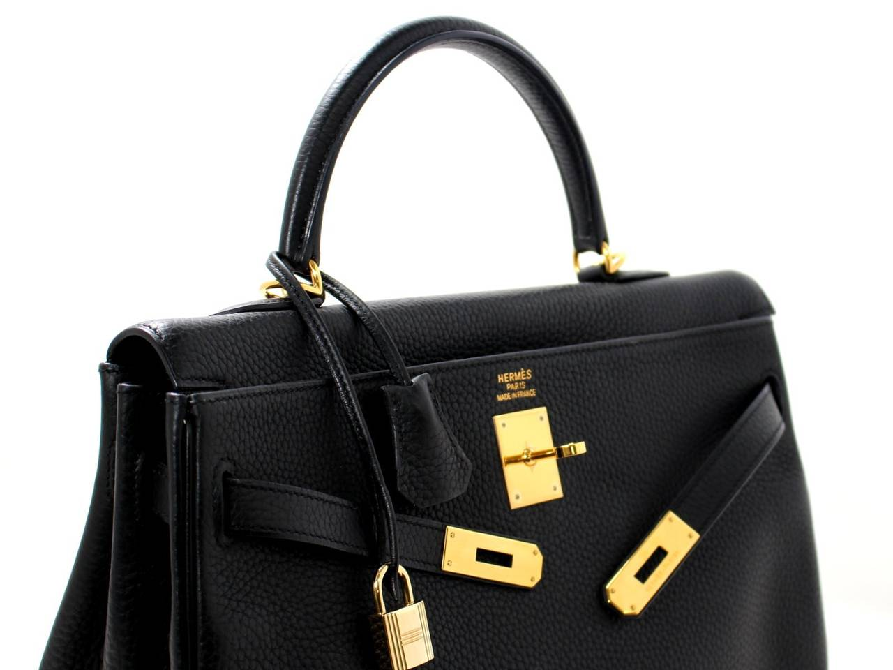 HERMES Kelly Bag- Black Clemence Leather with  Gold, 35 cm 5