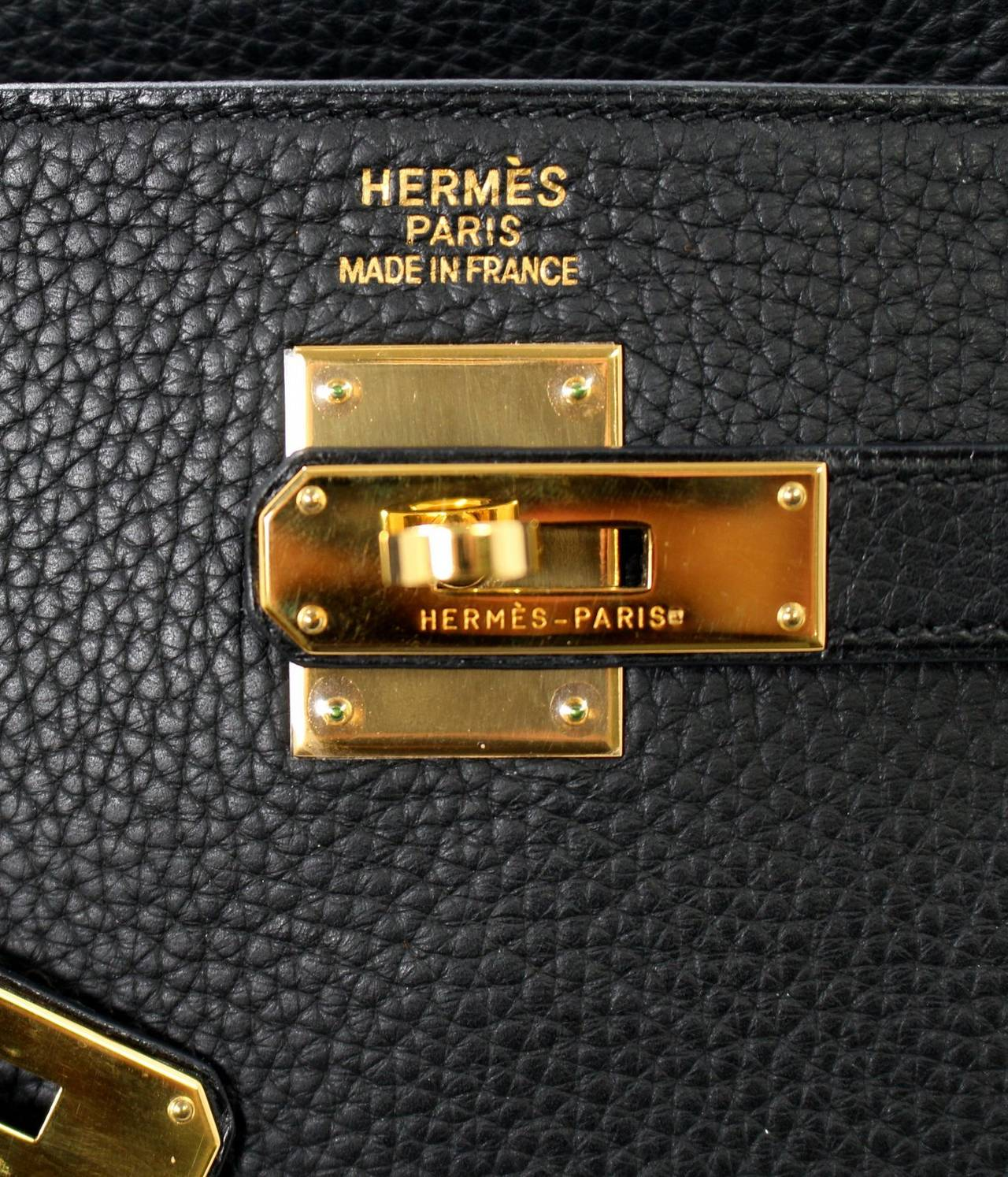 HERMES Kelly Bag- Black Clemence Leather with  Gold, 35 cm 6