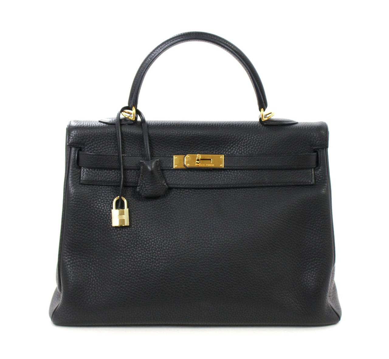 HERMES Kelly Bag- Black Clemence Leather with  Gold, 35 cm 7