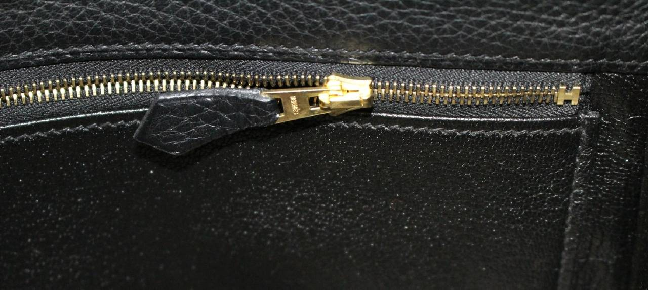 HERMES Kelly Bag- Black Clemence Leather with  Gold, 35 cm 9
