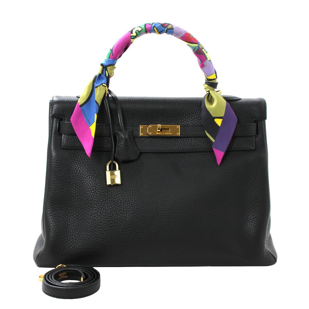 HERMES Kelly Bag- Black Clemence Leather with  Gold, 35 cm 1