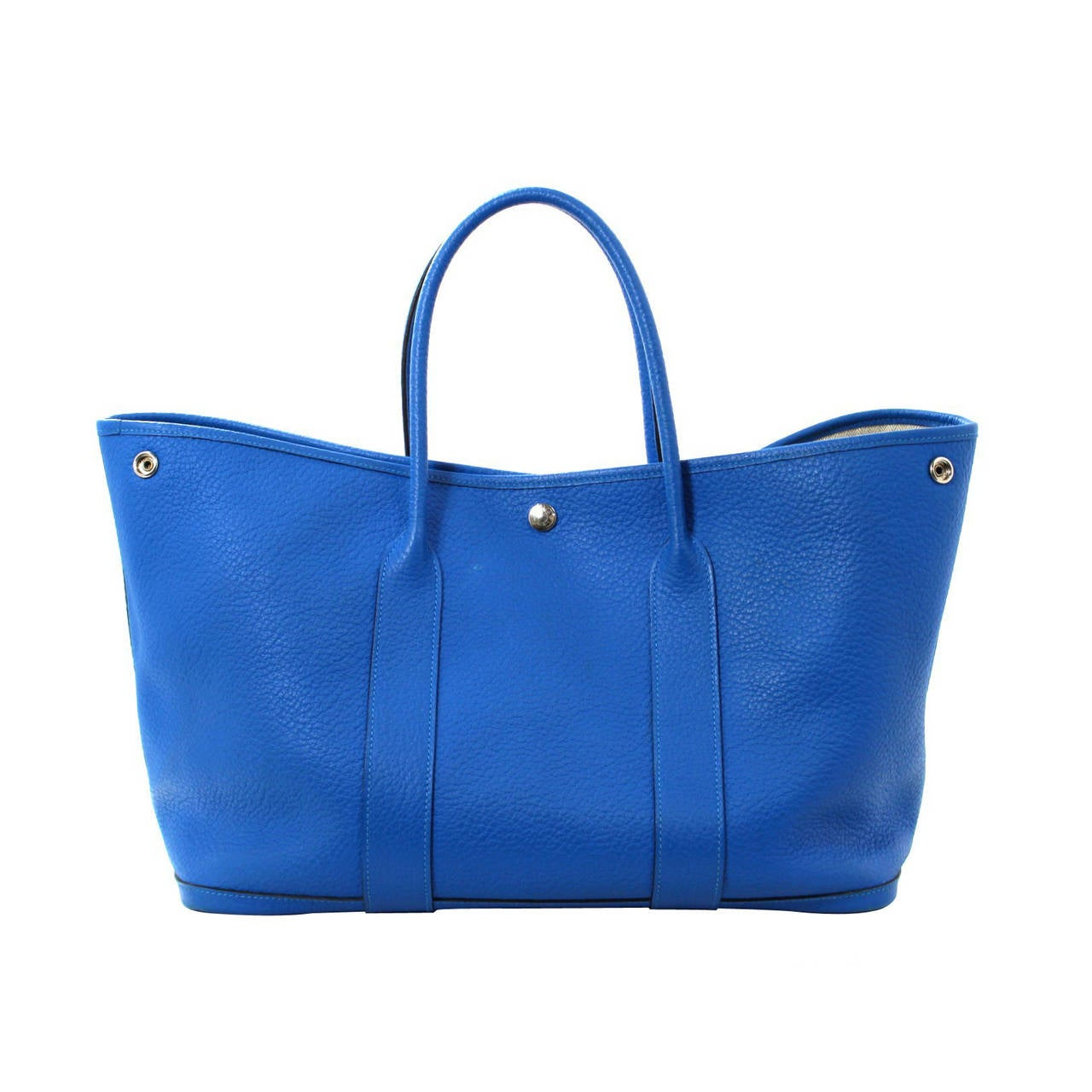HERMES All Leather Garden Party Tote- Blue Electrique Fjord, 36 cm ...