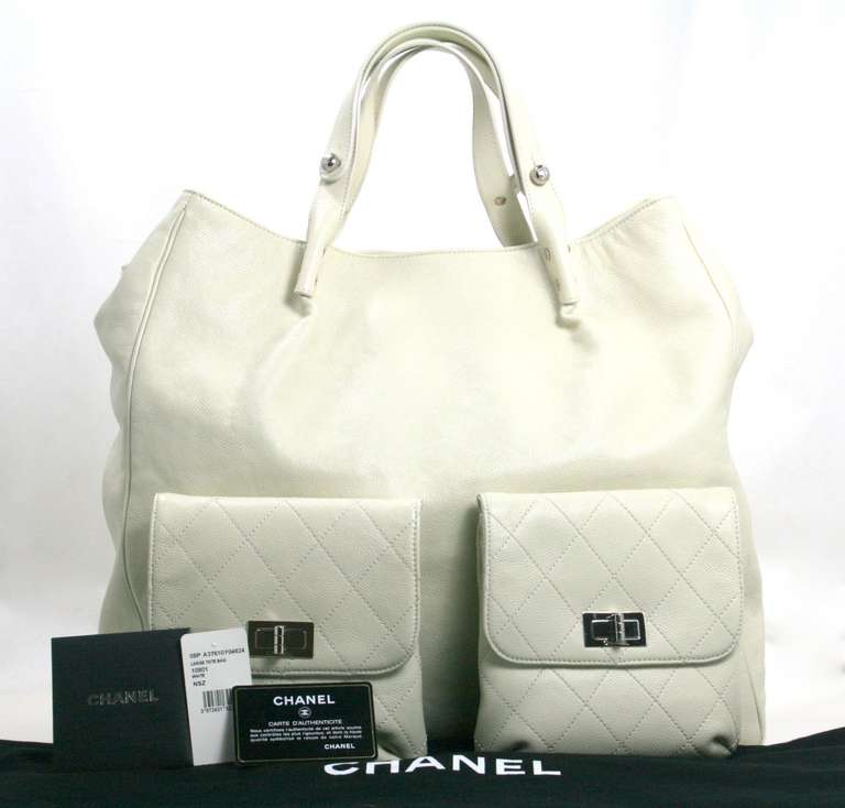 Chanel Ivory Caviar Leather Weekender XL Tote Bag 10