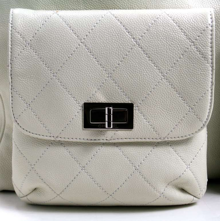 Chanel Ivory Caviar Leather Weekender XL Tote Bag 5