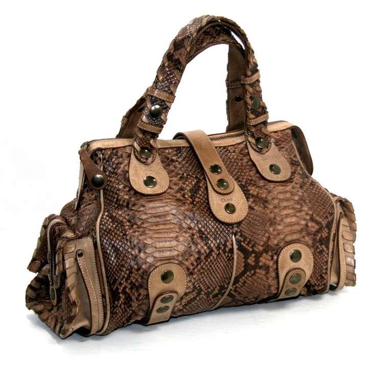Chloe Beige Brown Python Large Silverado Bag at 1stdibs