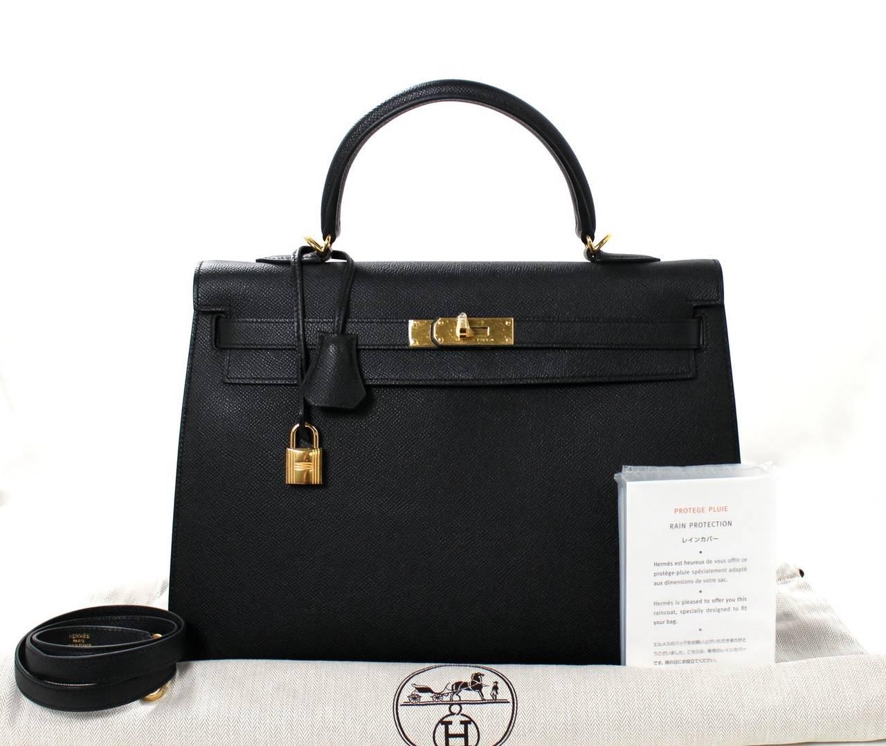 Hermes Black Kelly Sellier- Epsom Leather GHW  in 35 cm size 10