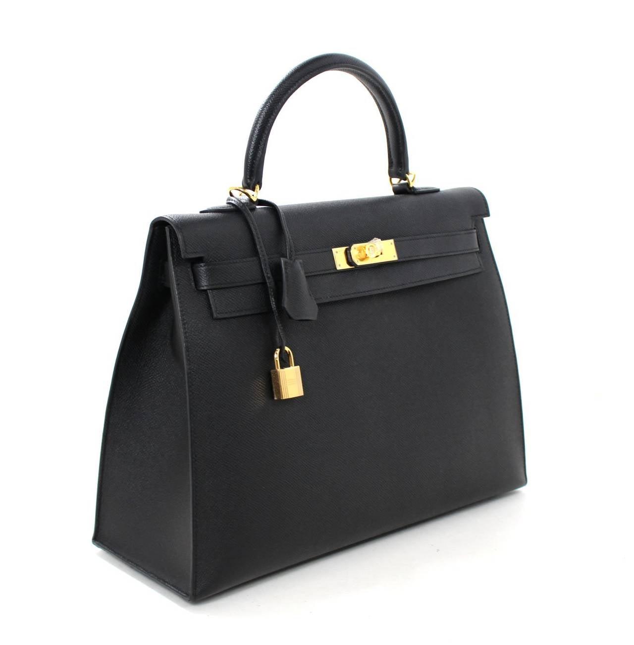 Hermes Black Kelly Sellier- Epsom Leather GHW  in 35 cm size 2