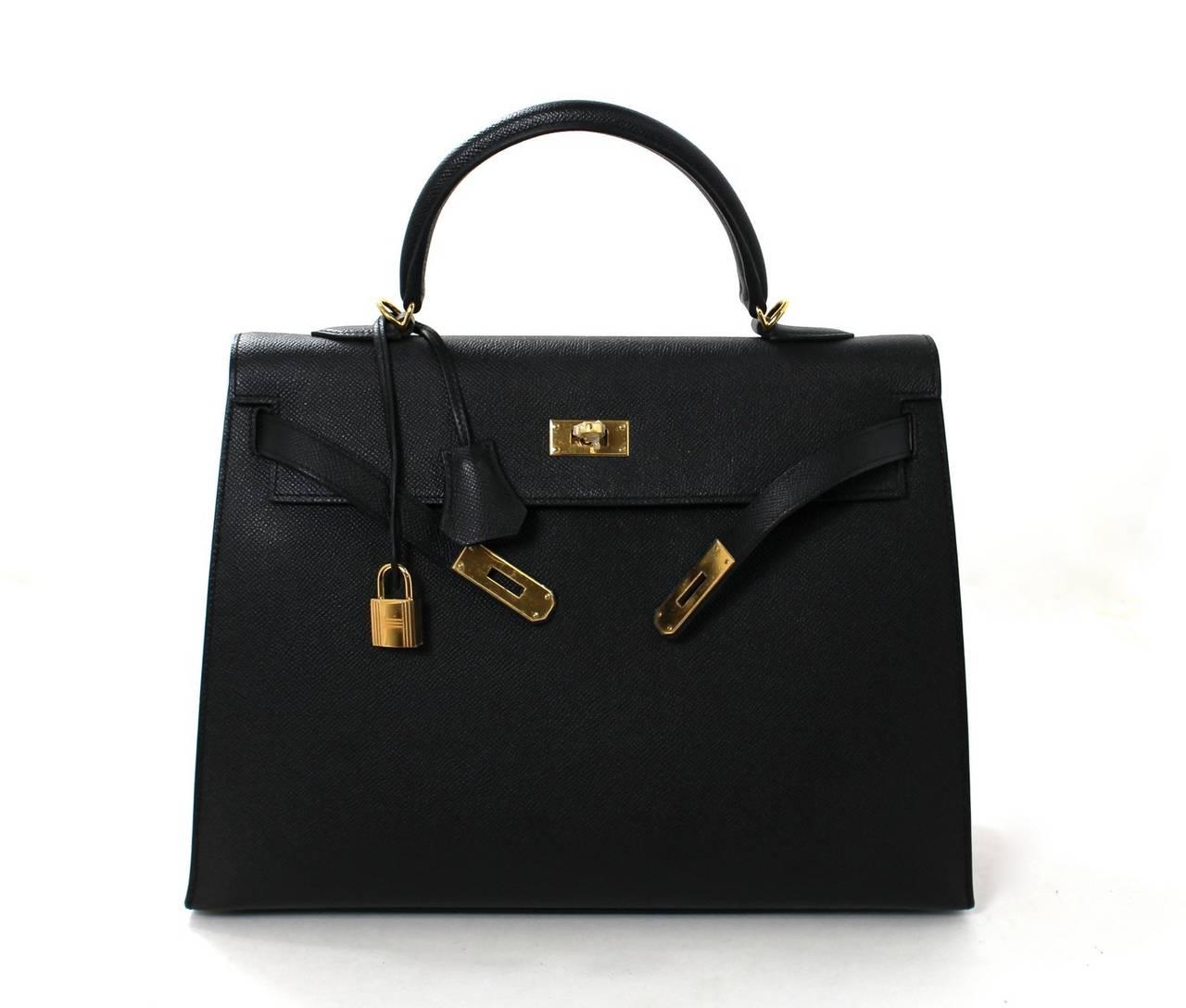 Hermes Black Kelly Sellier- Epsom Leather GHW  in 35 cm size 4