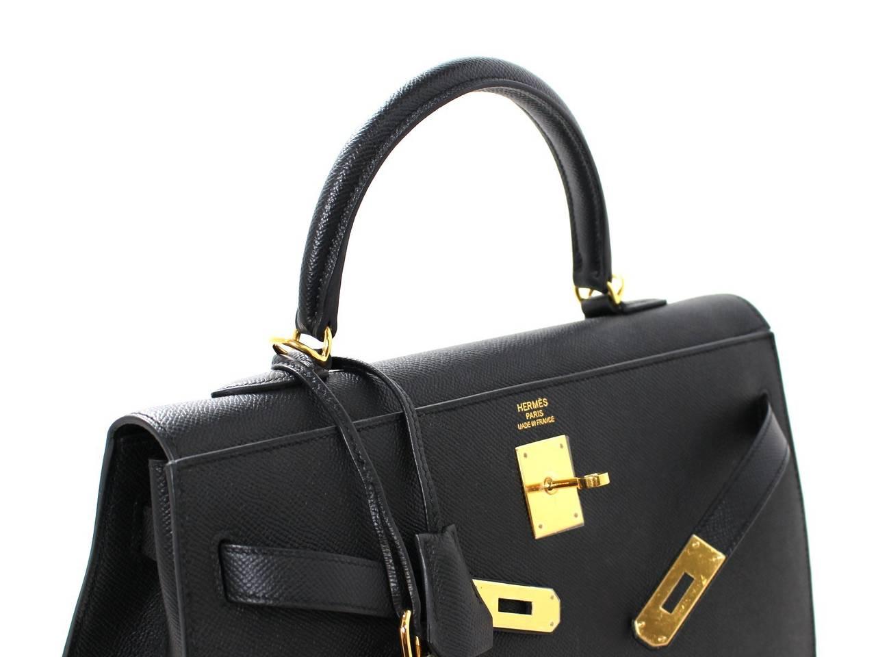 Hermes Black Kelly Sellier- Epsom Leather GHW  in 35 cm size 6