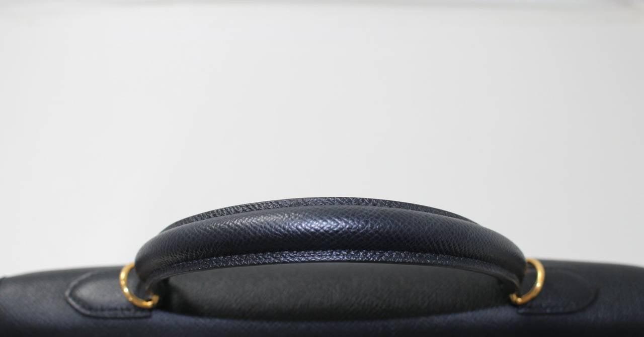 Hermes Black Kelly Sellier- Epsom Leather GHW  in 35 cm size 8