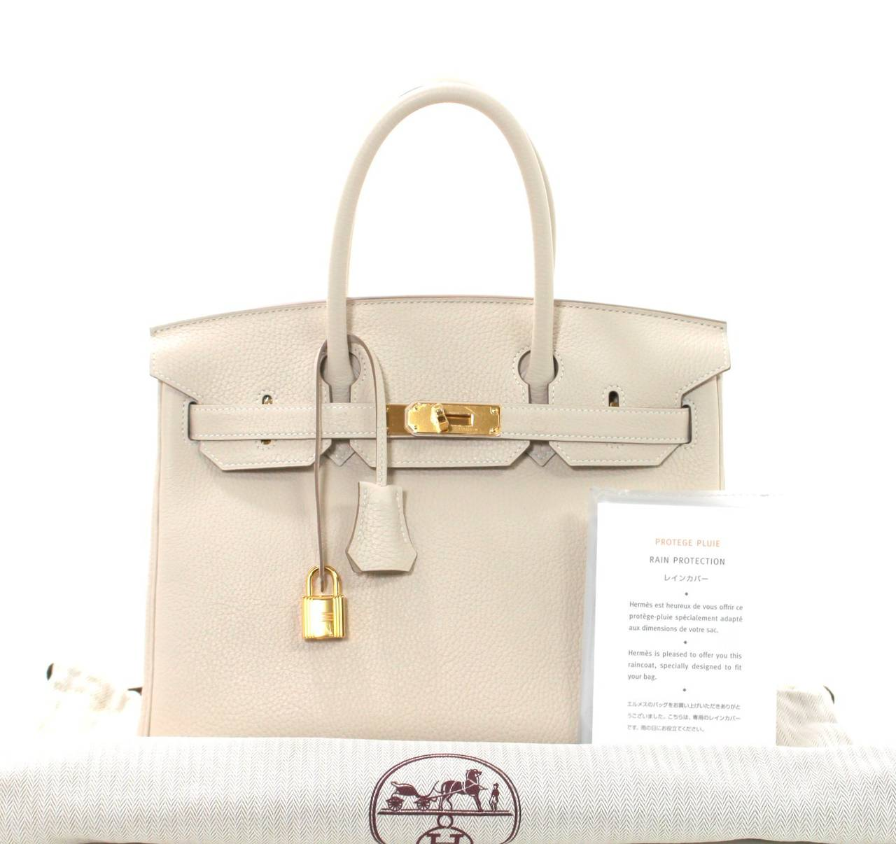 Hermes Birkin Bag in Craie Clemence with Gold- Bone color 30 cm 10
