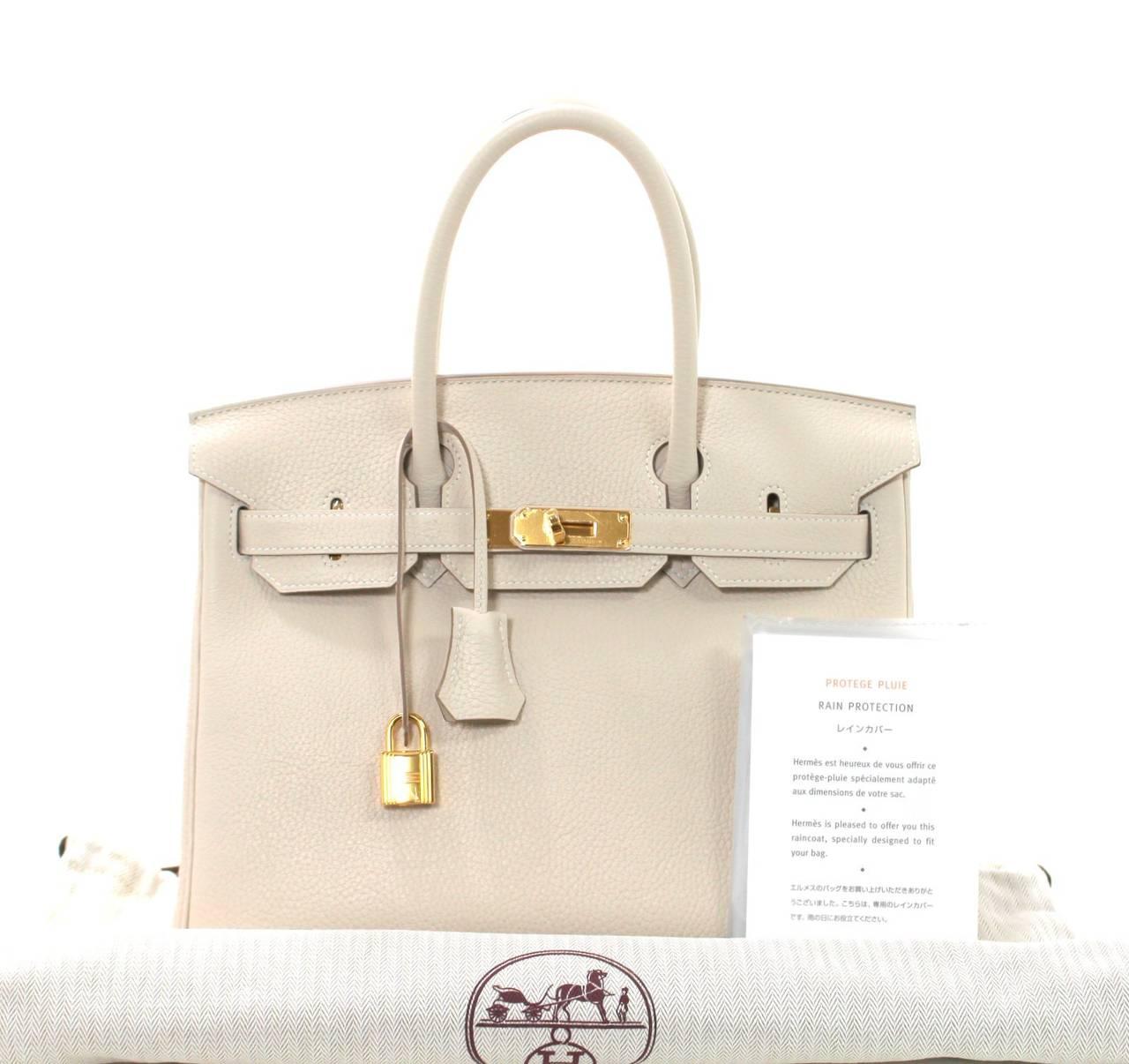 hermes leather bag - Hermes Birkin Bag in Craie Clemence with Gold- Bone color 30 cm ...
