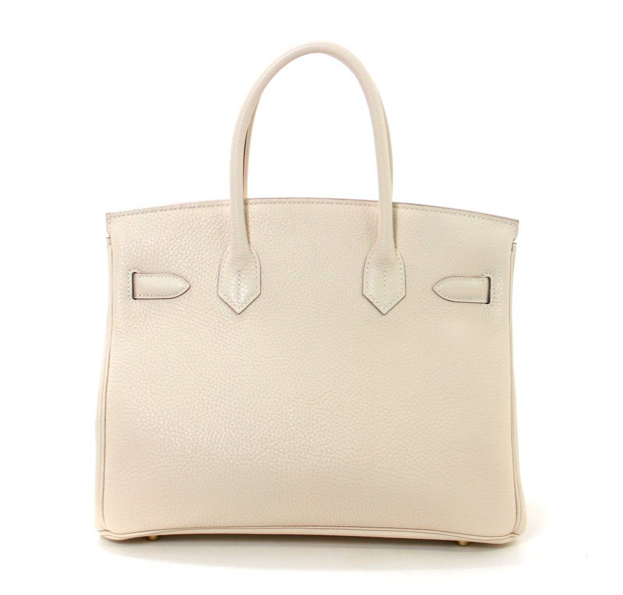 Hermes Birkin Bag in Craie Clemence with Gold- Bone color 30 cm 2