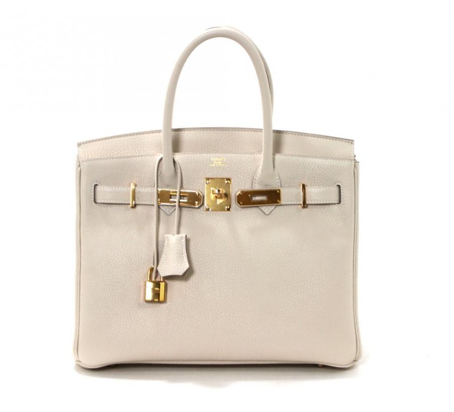 Hermes Birkin Bag in Craie Clemence with Gold- Bone color 30 cm 7
