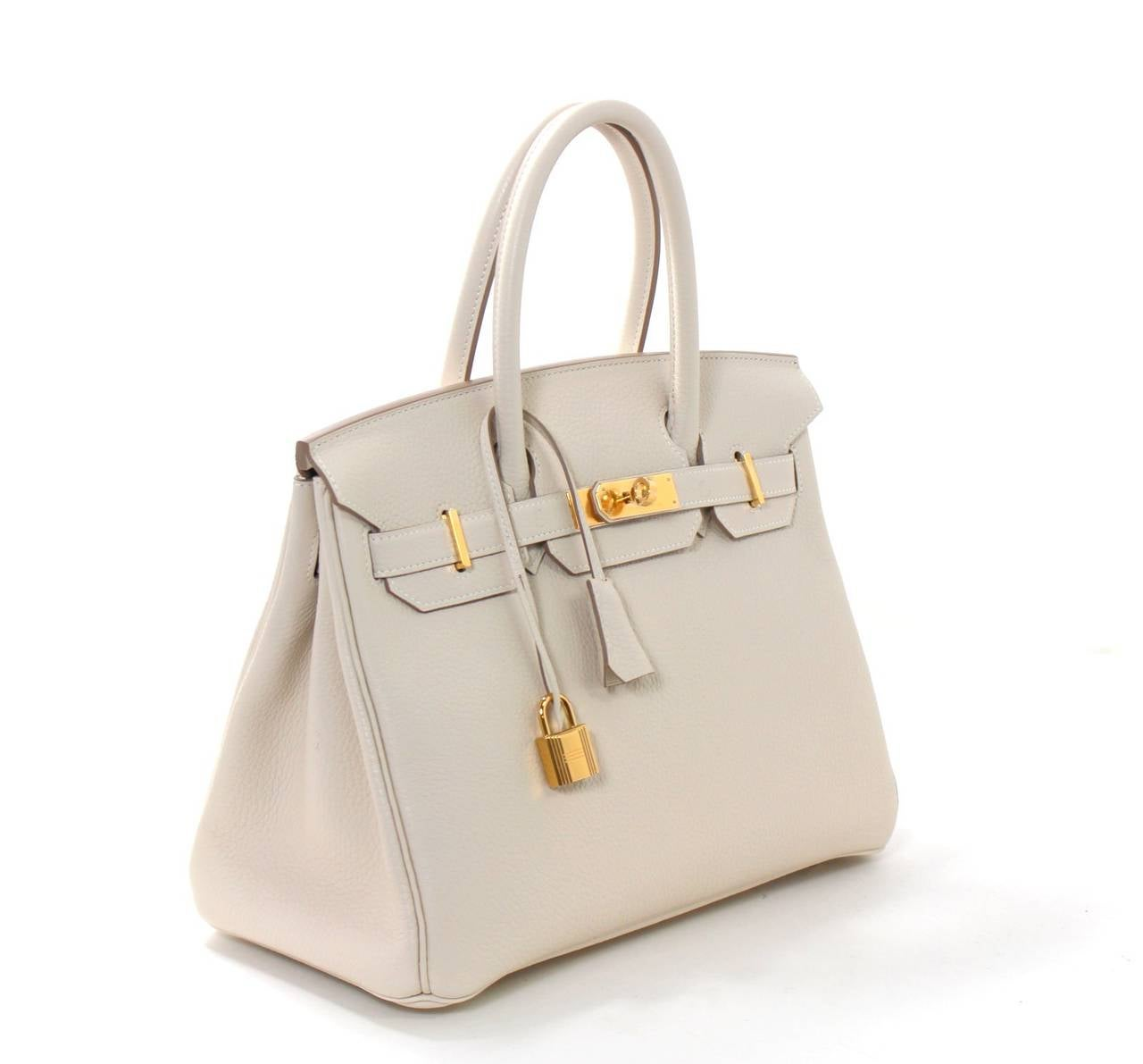 Hermes Birkin Bag in Craie Clemence with Gold- Bone color 30 cm 3