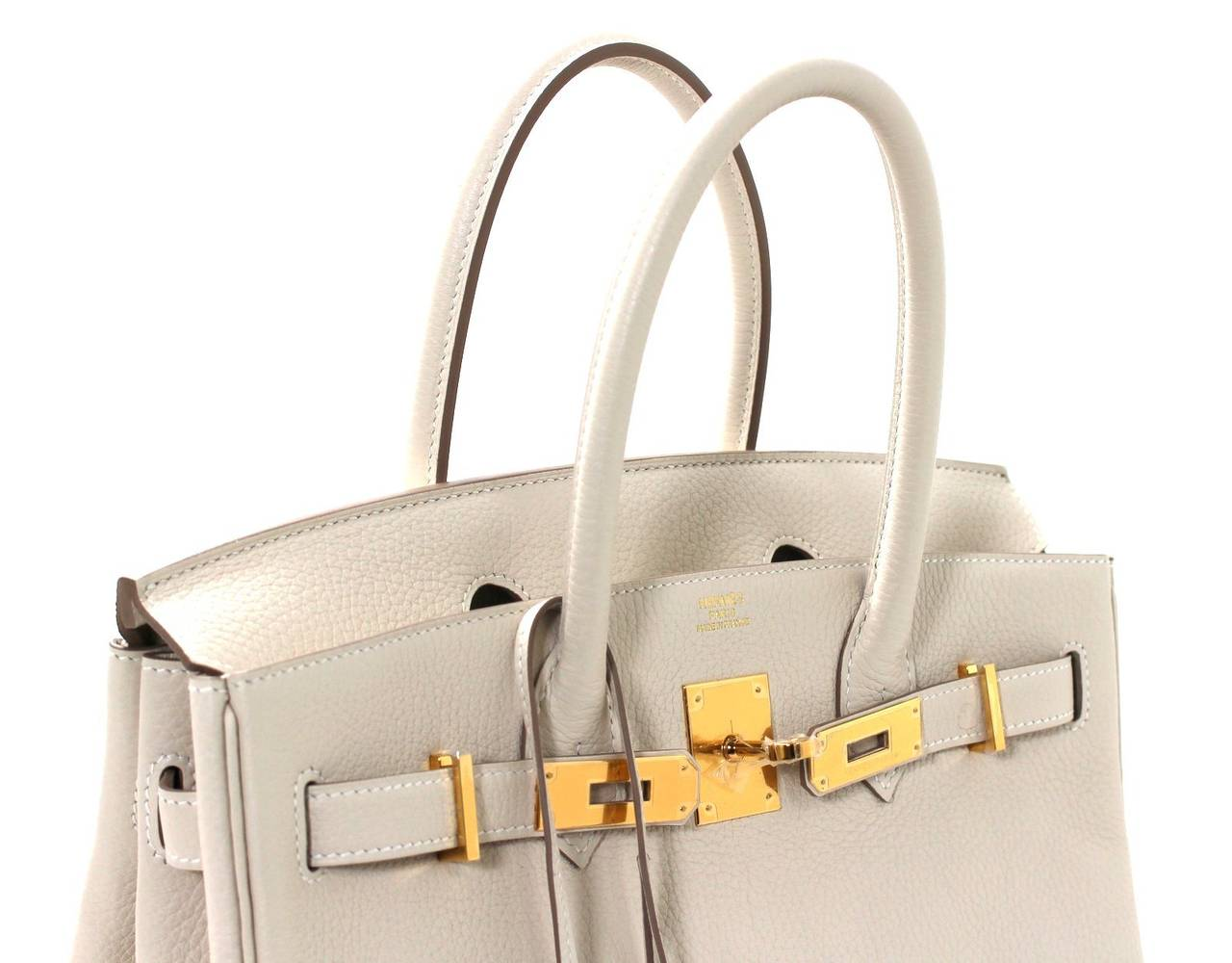 Hermes Birkin Bag in Craie Clemence with Gold- Bone color 30 cm 5