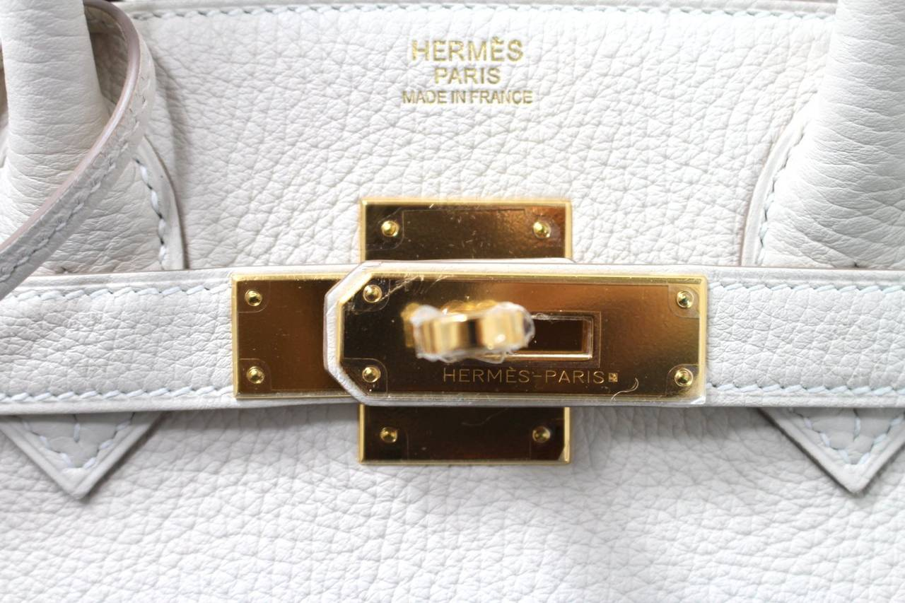 Hermes Birkin Bag in Craie Clemence with Gold- Bone color 30 cm 6