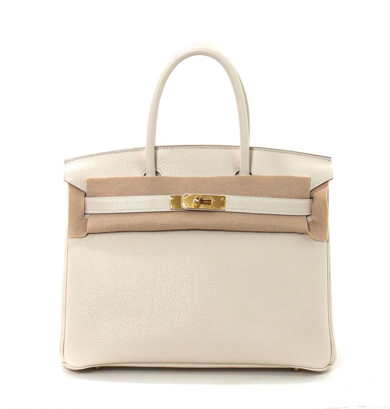 Hermes Birkin Bag in Craie Clemence with Gold- Bone color 30 cm 9